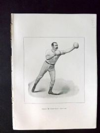 Badminton Library 1893 Antique Boxing Print. Left-Hand Lead-Off